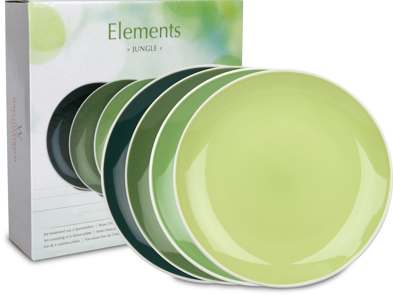 4er-Set Speiseteller Ø 27 cm im Geschenkkarton - Elements - Jungle