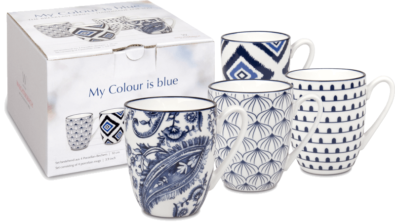 4er-Set Becher My colour is blue im Geschenkkarton