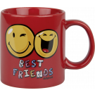 Henkelbecher 330 ml Smiley Best Friends rot